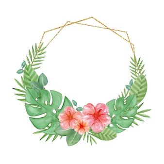 Akwarela tropikalna rama egzotycznych liści i hibiskusa zielony wieniec sztuki ręcznie rysowane wieniec palmowy