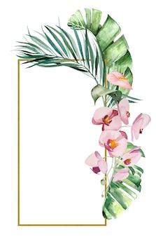 Akwarela tropikalne liście i kwiaty rama ilustracja na białym tle ślub papeterii, pozdrowienia, tapeta, moda, plakaty