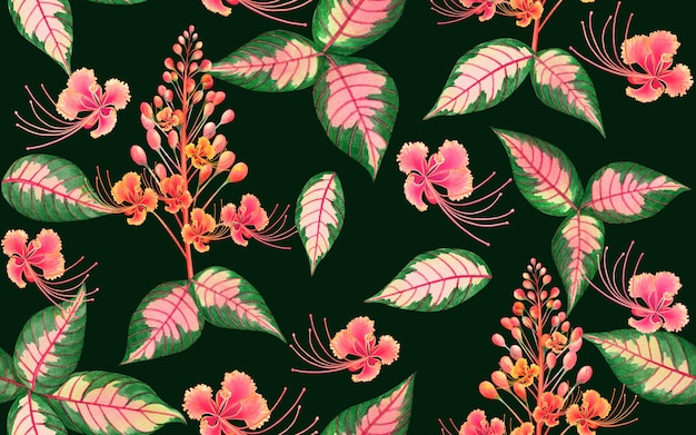 Akwarela tropikalne liście tło wzór