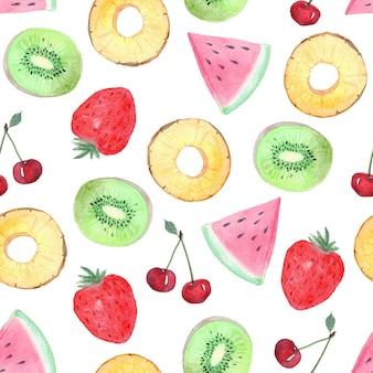 Akwarela tropikalne owoce i jagody wzór na białym tle