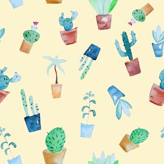 Akwarela tropikalnych roślin wzór