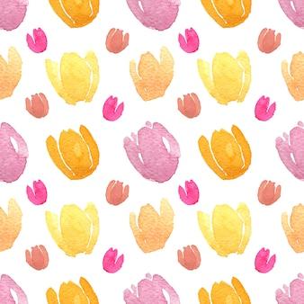 Akwarela tulipany w jednolity wzór ze ścieżką przycinającą