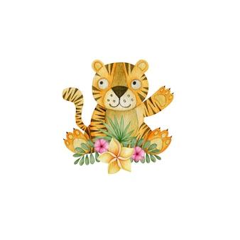 Akwarela tygrysa i tropikalne kwiaty na białym tle
