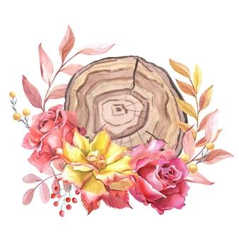 Akwarela układ kawałek drewna, kwiaty, liście, jagody. jesienna kompozycja z czerwonej, różowej róży słoje drzewa. akwarela dekoracja kwiatowa z wycięciem drzewa. kartkę z życzeniami na urodziny, ślub.