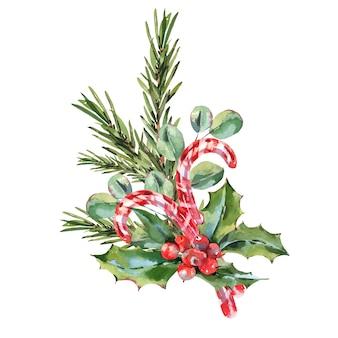 Akwarela vintage kartki świąteczne z jemioła, gałąź jodły, liście i jagody.