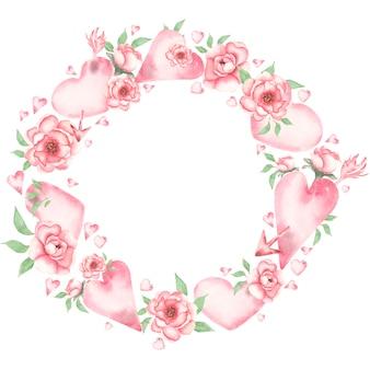 Akwarela walentynki wieniec clipart, romantyczne różowe kwiaty serce clipart. valentine love ilustracja, druk baby girl florals