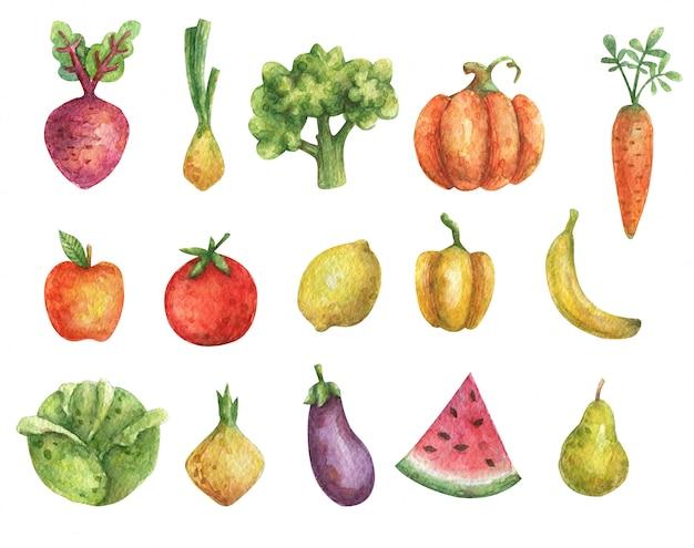 Akwarela wegetariański zestaw warzyw (dynia, bakłażan, pomidor, kapusta, marchew, pieprz, buraki, cebula, brokuły) i owoców (jabłko, cytryna, gruszka, banan, arbuz)