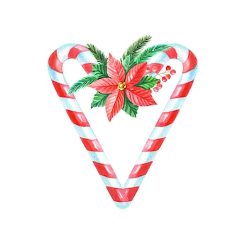 Akwarela wesołych świąt serce z cukierków z czerwoną poinsecją