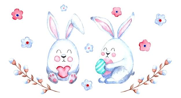 Akwarela wielkanocna ilustracja z wielkanocnymi króliczkami i gałązkami wierzby