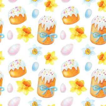 Akwarela wielkanocny wzór z wiosennych kwiatów, jaj, ciasta.