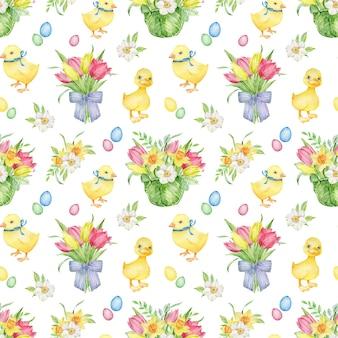 Akwarela wielkanocny wzór z żółtą kaczątką i pisklęciem, kolorowe jajka, bukiety z tulipanów i żonkile.