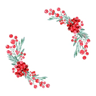 Akwarela wieniec bożonarodzeniowy z drzewem, ostrokrzewem i poinsecją