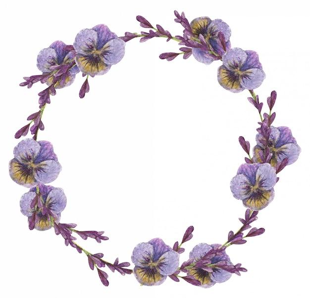 Akwarela wieniec kwiatów lawendy i fioletowych bratki.
