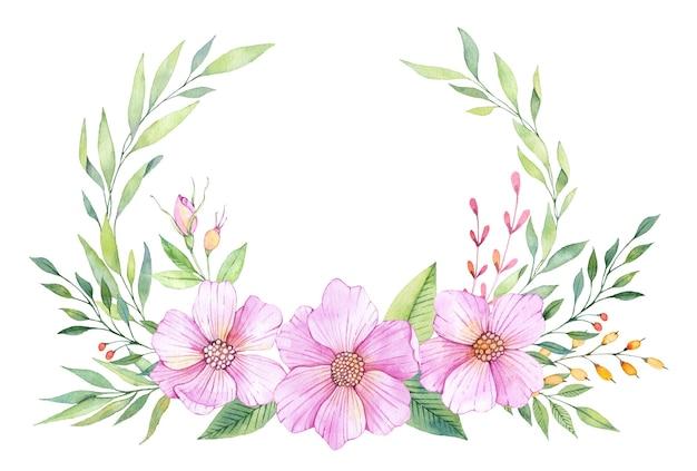 Akwarela wieniec kwiatowy z różowymi kwiatami i zielonymi liśćmi
