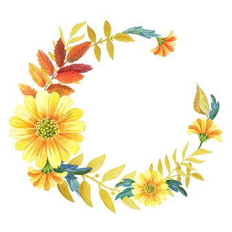 Akwarela wieniec kwiatowy żółte kwiaty, jesienne liście i złote gałązki.