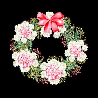 Akwarela wieniec noworoczny z kwiatami róż i kokardą