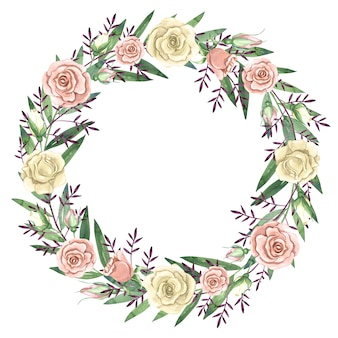 Akwarela wieniec z ilustracji białych i różowych róż