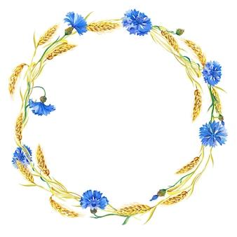 Akwarela wieniec z niebieskich chabrów, kłosów dojrzałej pszenicy. piękna jasna ramka z niebieskimi kwiatami, zielone liście.