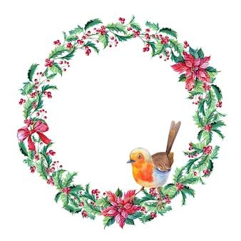 Akwarela wieniec z ptakiem robin. akwarela gałązka holly. wesołych świąt bożego narodzenia.