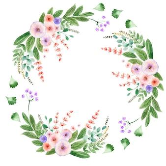 Akwarela wieniec z różnymi ozdobnymi kwiatami i liśćmi