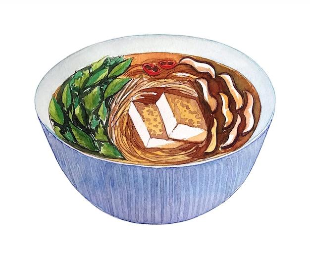 Akwarela wietnamski weganin zupa pho na białym tle.