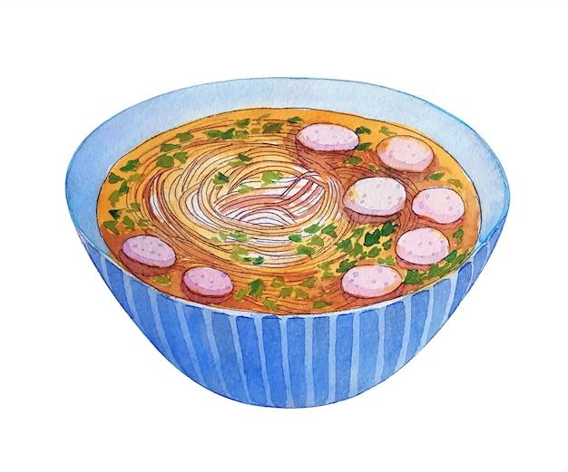 Akwarela wietnamski zupa pho na białym tle.