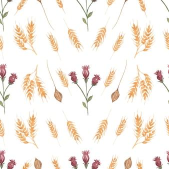 Akwarela wildflower kwiatowy wzór, tapeta delikatny bukiet kwiatów.