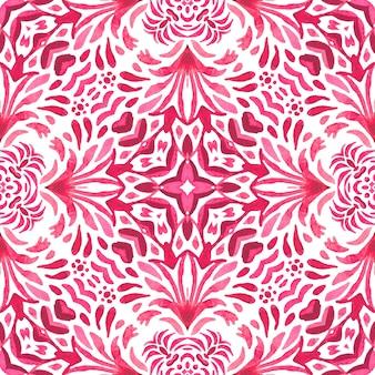 Akwarela winieta bez szwu projekt z kwitnie serce. sztuka ludowa vintage adamaszek kwiatowy wzór.