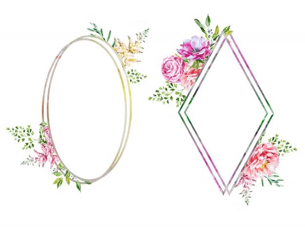 Akwarela wiosna kwiat ramki. kompozycja kwiatowa.