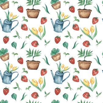 Akwarela wiosna wzór z konewka ogrodowa żółte tulipany, truskawki i młoda zieleń