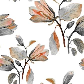 Akwarela wyciągnąć rękę piękny kwiat magnolii
