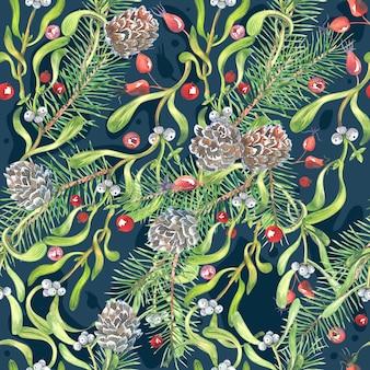 Akwarela wzór bożego narodzenia, kwiaty ciemiężyca, jemioła, czerwone jagody