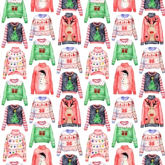 Akwarela wzór brzydkie swetry świąteczne na białym tle. ubrania na boże narodzenie.