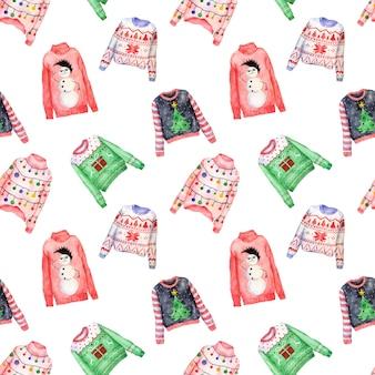Akwarela wzór brzydkie swetry świąteczne na białym tle