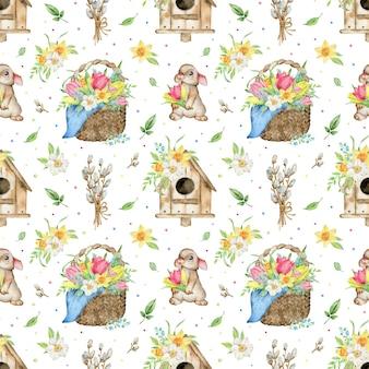 Akwarela wzór kosz tulipanów i żonkili, domku dla ptaków, królika i wierzby cipki