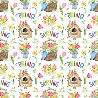 Akwarela wzór kosza tulipana i żonkila, domek dla ptaków, słowo wiosna.