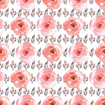 Akwarela wzór kwiatowy w różowo-czerwonych kolorach