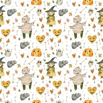 Akwarela wzór postaci i przedmiotów halloween