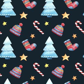 Akwarela wzór z choinką, skarpetkami, kapeluszem i gwiazdami na ciemnym tle