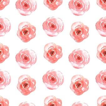 Akwarela wzór z delikatnymi kwiatami w kolorze czerwonym.