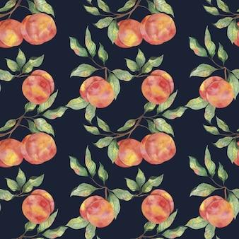 Akwarela wzór z dojrzałymi owocami brzoskwini z gałęziami liści na ciemnym tle
