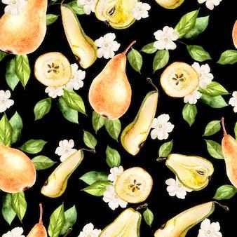Akwarela wzór z gruszek i kwiatów. ilustracja.