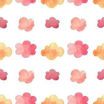 Akwarela wzór z jesiennymi chmurami w kolorze liści.
