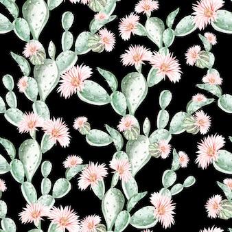 Akwarela wzór z kaktusa