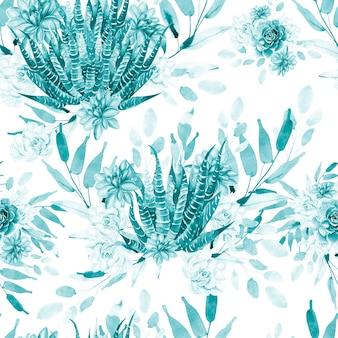 Akwarela wzór z kaktusami i sukulentami