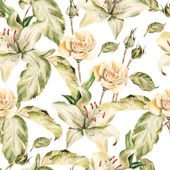 Akwarela wzór z kwiatów lilii, róż, pąków i płatków. ilustracja