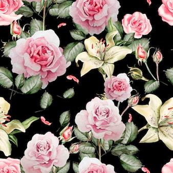 Akwarela wzór z kwiatów róż, pąków, lawendy i ptaka