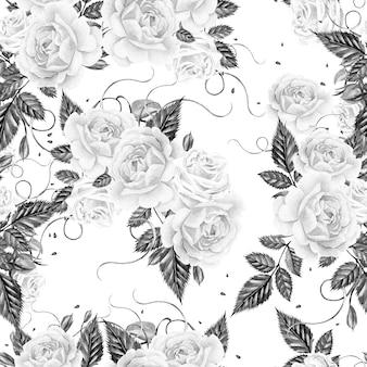 Akwarela wzór z różami i liśćmi