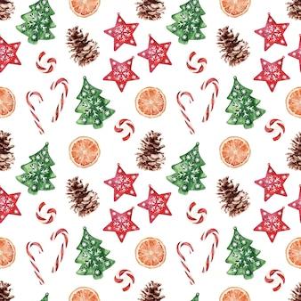 Akwarela wzór z różnymi świątecznymi atrybutami świąt