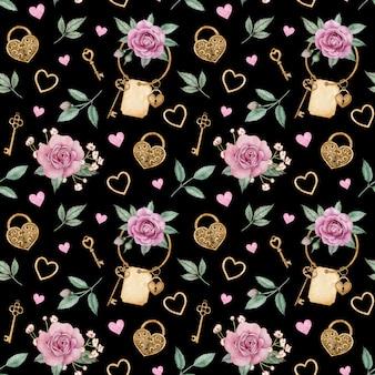 Akwarela wzór z różowymi różami i złotymi zamkami i kluczami. wzór miłości walentynki.